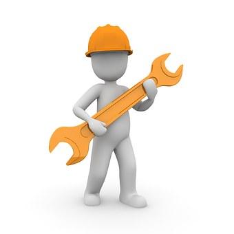 Handwerker Mechaniker Helm Arbeiter Bauarb