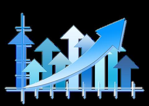 統計情報, 矢印, トレンド, 経済, ビジネス, 金融, 方向, オフィス
