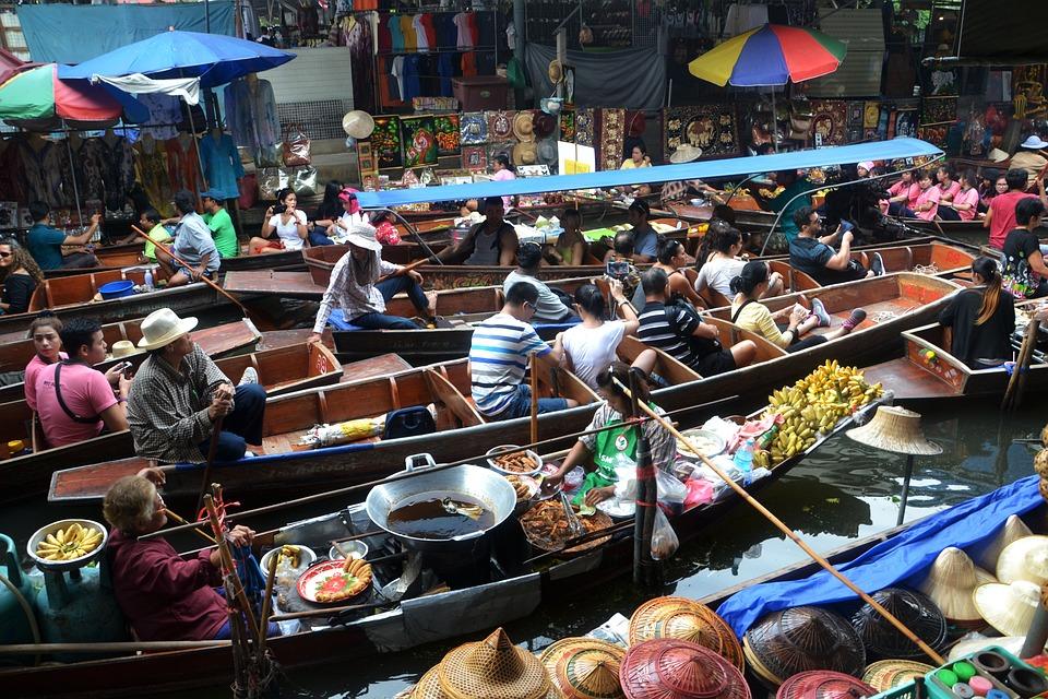 バンコク, タイ, 水上マーケット, ボート, 川, 旅行, タイ語, アジア, ランドマーク, 観光, 都市
