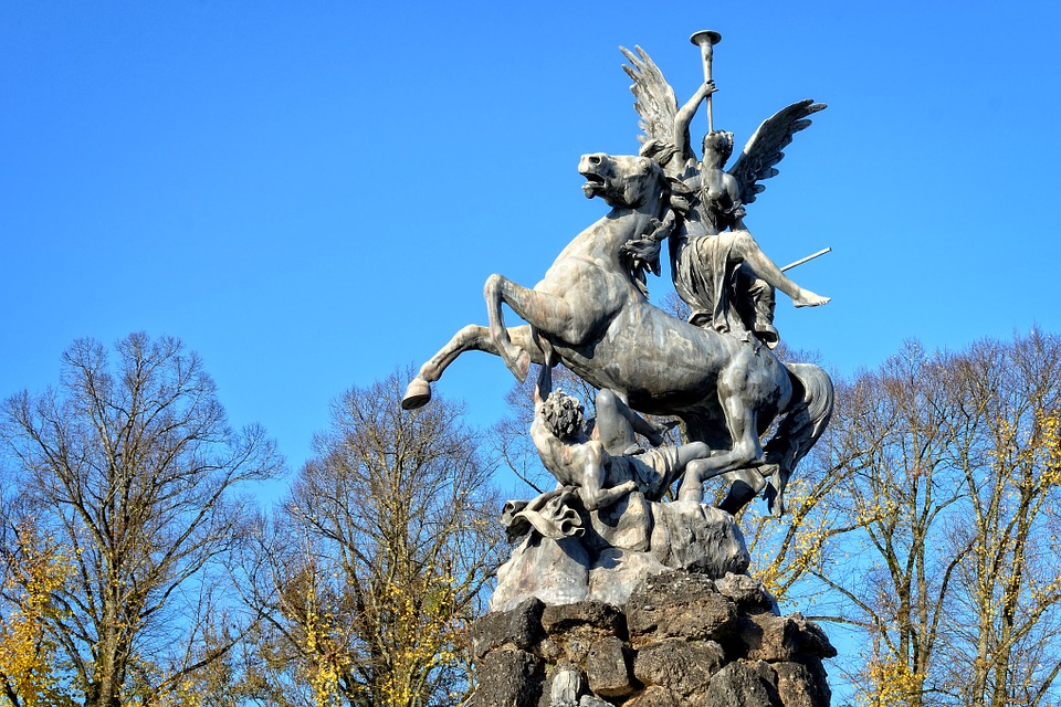 Statue, Monument, Figure, Sculpture, Horse, Angel, Man