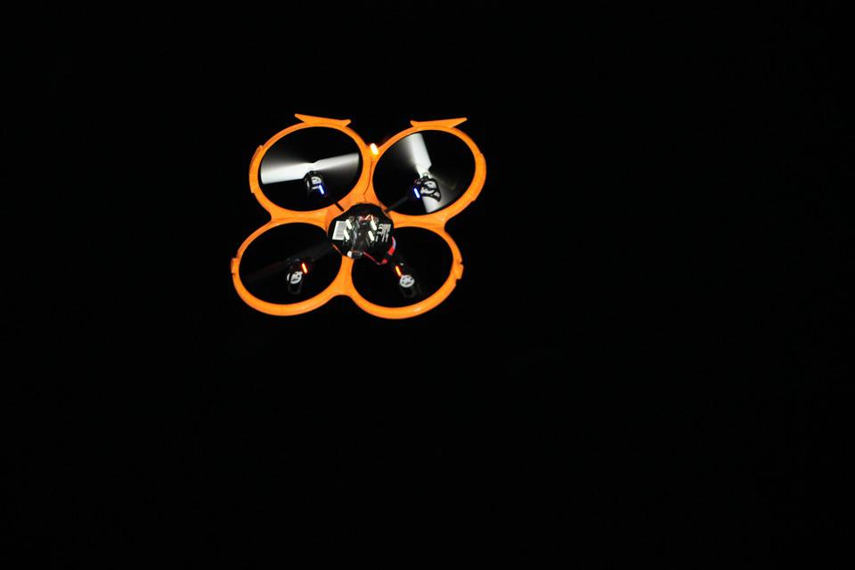Drone Flight At Night Fly Rotor Aircraft