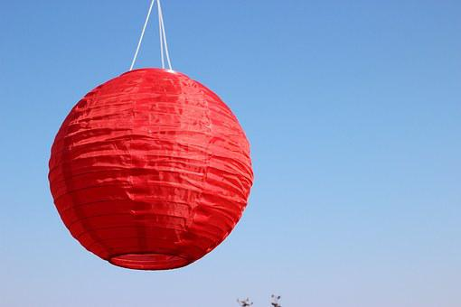 Lantern, Red, Ball, Color, Sky, Blue