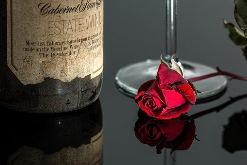 Rose, Wine, Red, Romantic, Bottle, Drink