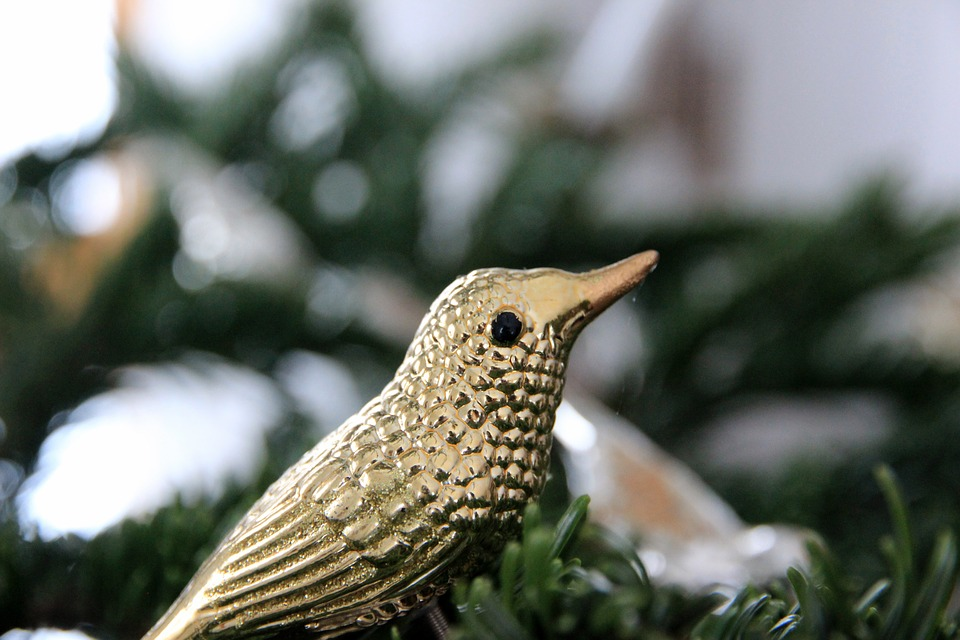 Christbaumschmuck Vogel Gold Kostenloses Foto Auf Pixabay