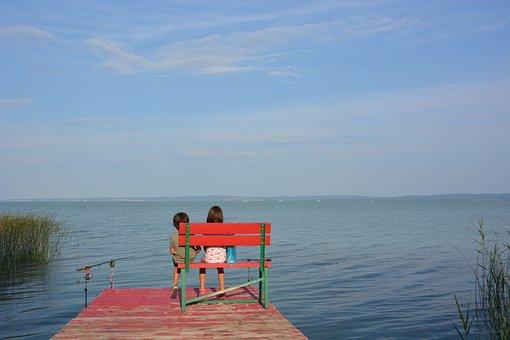 魚, 池, 子供, 愛, 自然, 水, 湖, 一緒に, ハーモニー, ウェブ