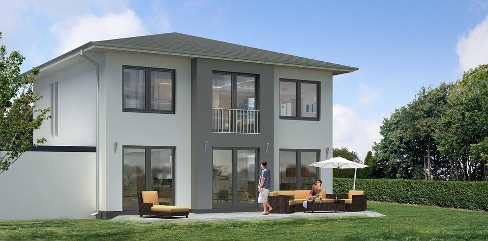 einfamilienhaus villa rendering kostenloses foto auf pixabay. Black Bedroom Furniture Sets. Home Design Ideas