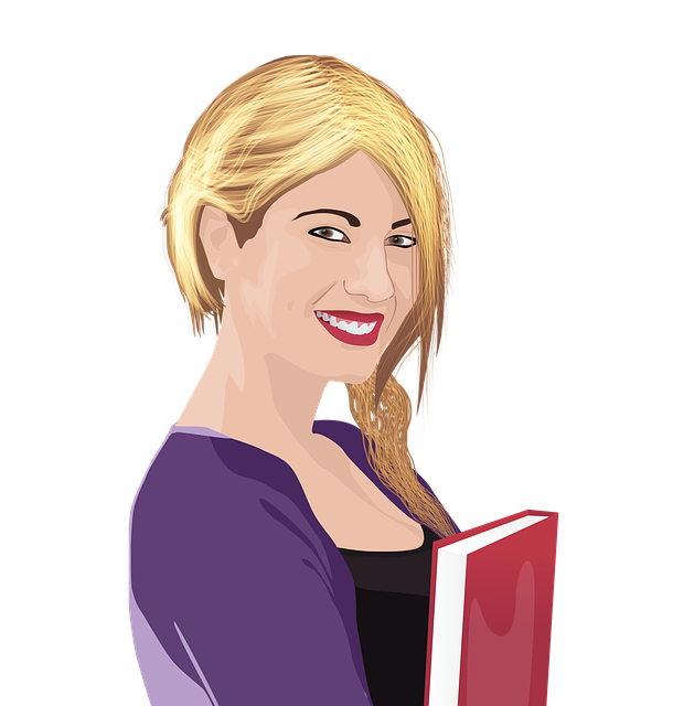 free illustration girl with book education student