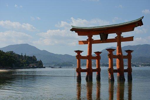 神社, 鳥居, 海, 日本三景, 厳島神社, 宮島, 神社, 神社, 神社