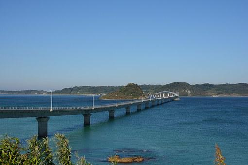 日本, 山口, 角島, 海, 橋, 空, 海岸, 青, 景色