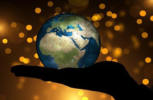 Hand, Halten, Globus, Erde, Kontinente