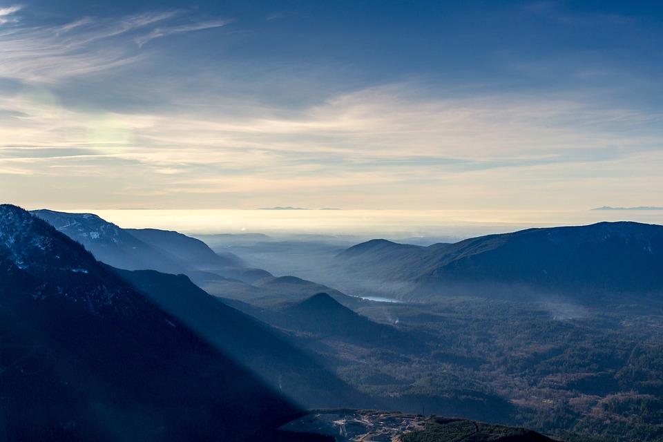 見る, 山, シュール, 霧深い, 青, 自然, 風景, 空, ピーク, 屋外, 山の風景, 景色