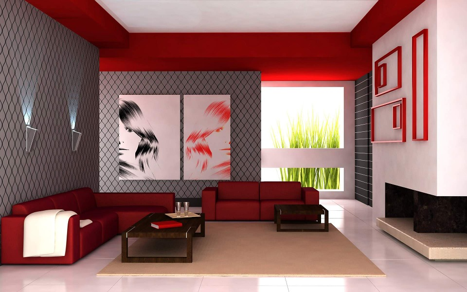 Red And White Living Room living room apartment red white interior design
