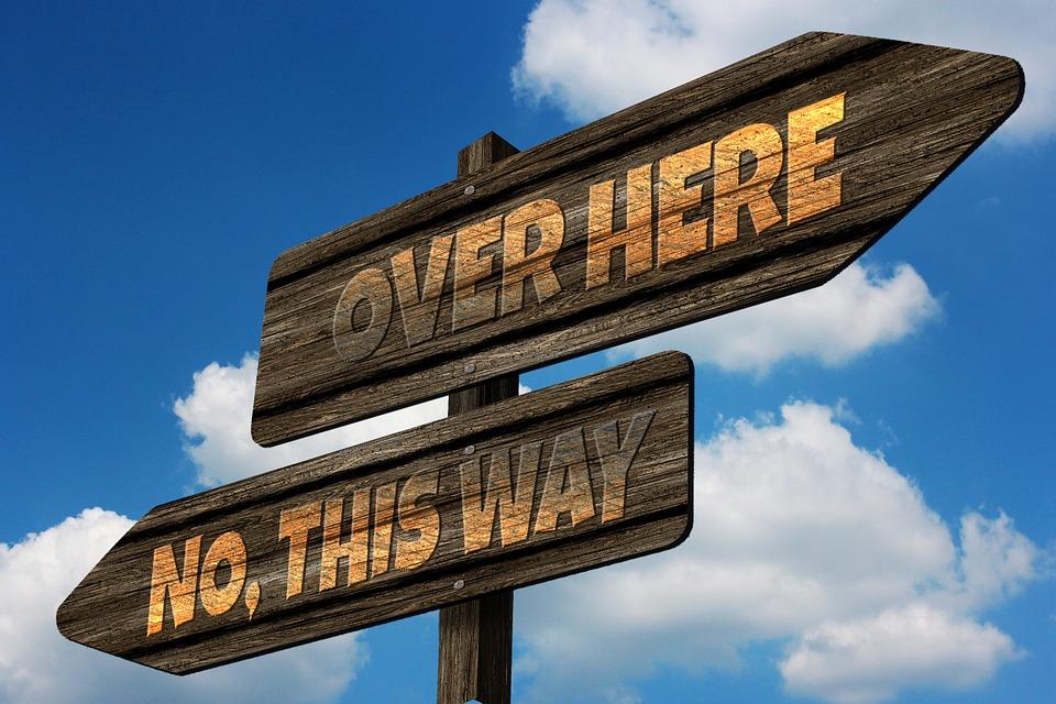 方向, ディレクトリ, 離れた, 意思決定, 提供しています, 誘惑, 右, False, スマートAleck