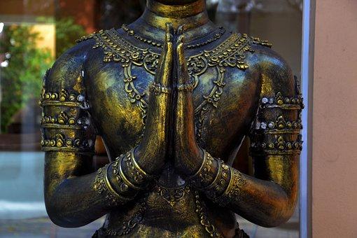 Hands Praying Brass Statue Religion B