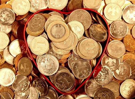 マネー, コイン, 心, ルーブル, ユーロ, 一握り, 経済, 繁栄, 豊富な