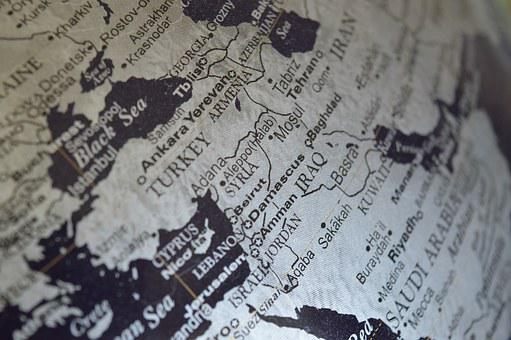 Syria, Middle East, Map, Globe, Iraq
