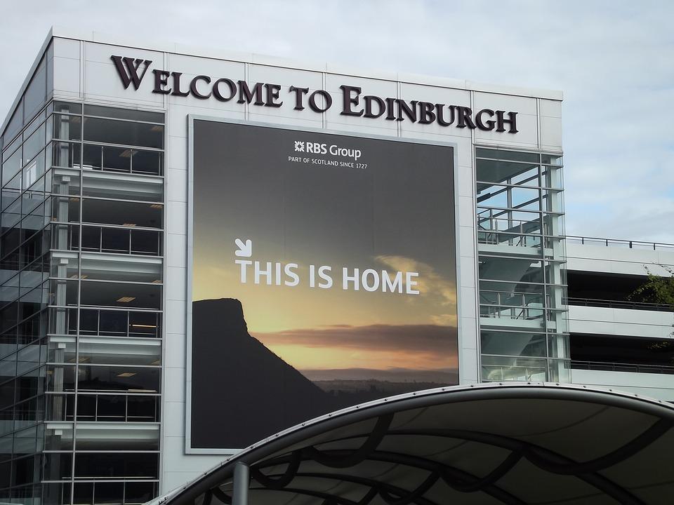 Edinburgh, Lotnisko, Przyjazd, Powitanie, Reklama