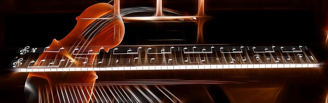 Banner, Header, Violin, Piano, Keys
