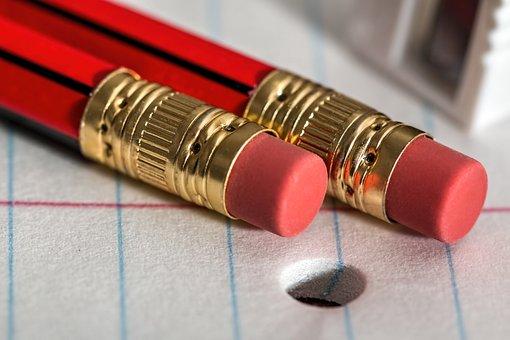 鉛筆, 消しゴム, メモ帳, 書き込み, 紙, オフィス, 学校, 電源
