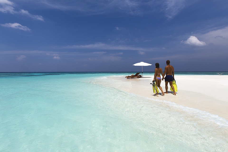 Travel, Vacation, White Sand Beach, Couple, Romance
