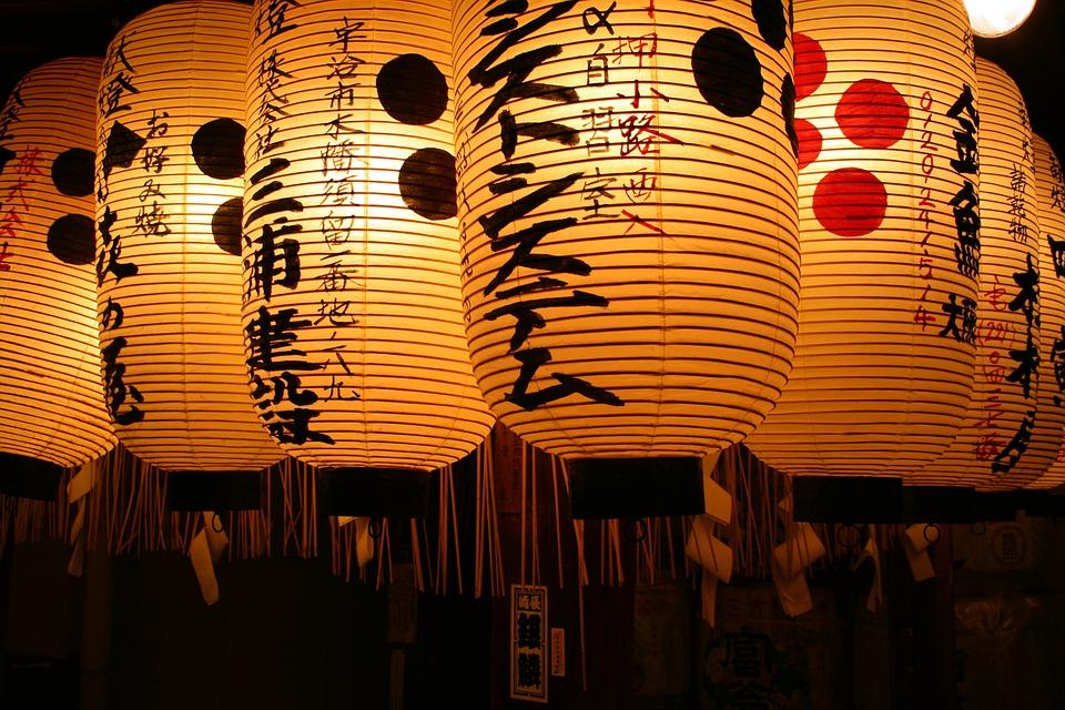 ランタン, 日本, 東京, テンプル, 神社, 夜, アジア