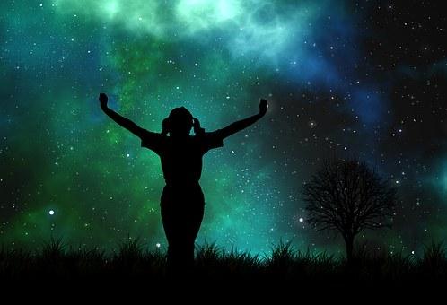 Universum, Person, Silhouette, Sterne