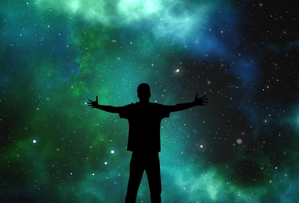 宇宙, 人, シルエット, スター, 喜び, 抱擁, 検索, 空, 夜, 色, 銀河, コスモス, 天文学