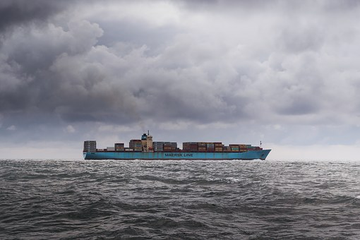 Container, Ship, Sky, Clouds, Dark