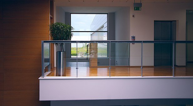 近代的なオフィス, アーキテクチャ, ビジネス センター, ガラス, アトリウム