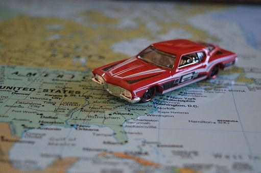 Road Trip Car Map Atlas United States Amer