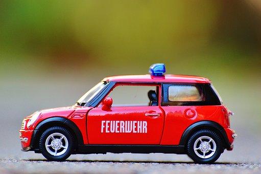 消防士, ミニ クーパー, 自動車, プラモデル, 赤, 青い光, 車両