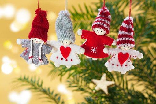 クリスマス, 天使, 人形, 手仕事, ニット, キャップ, 赤、白, 灰色