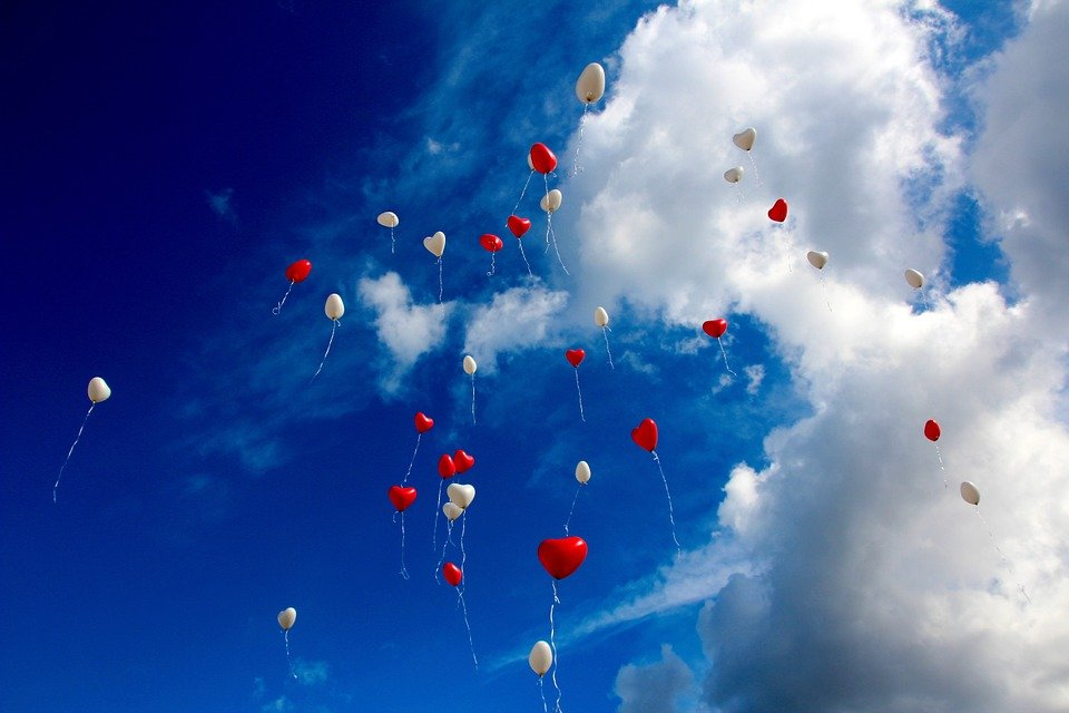 Balloons, Heart, Sky, Clouds, Love, Romance, Romantic