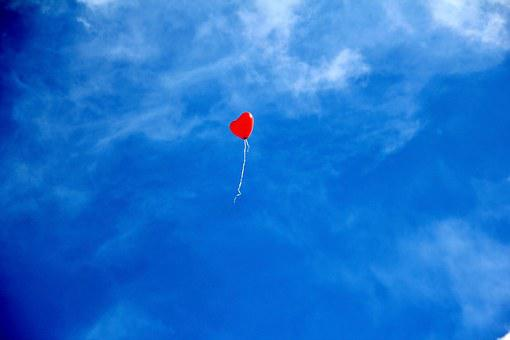 Balloon, Heart, Love, Romance, Sky