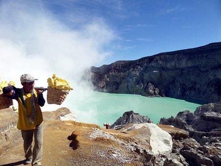 Miners, Ijen, Indonesia, Mine, Man