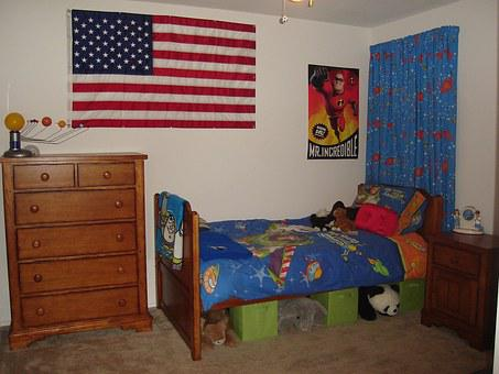 Bed, Room, Boy, American Flag, Bedroom