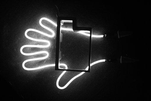 Hilfe, Hand, Neon, Kunst
