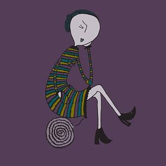 Femme Triste, Estime, Doute, Art, Doute