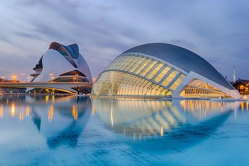Valencia, Spain, Calatrava, Sunset