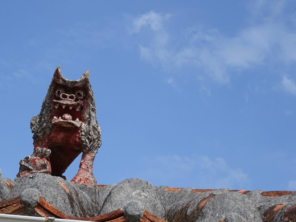 Okinawa, Sky, Roof, Dragon, Stome, Decoration
