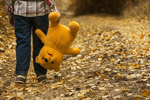 Child, Autumn, Bear, Leaves, Boy, Yellow