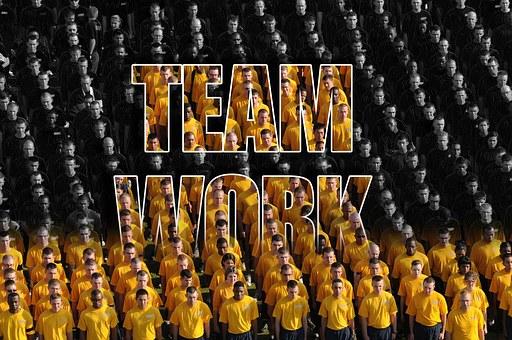 チームワーク, チーム, ビジネス, 群衆, 一緒に, 統一, オフィス, 企業