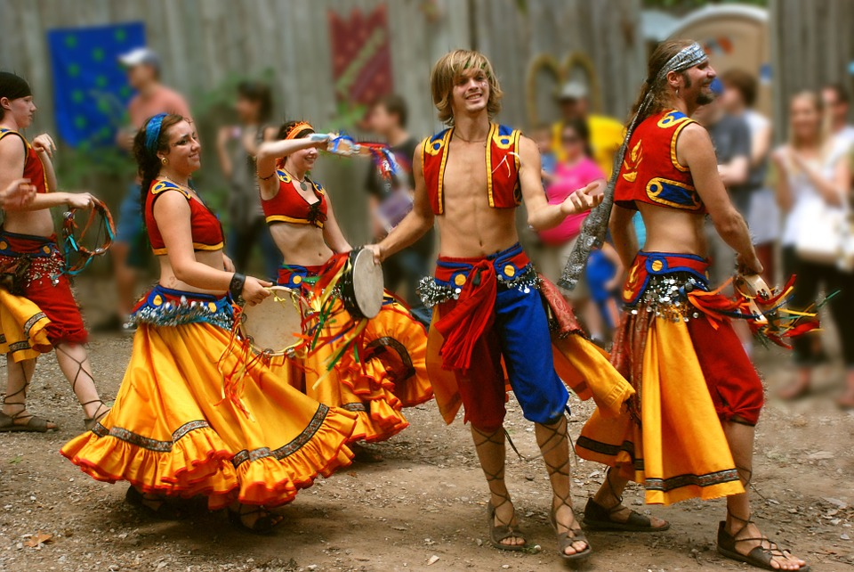 Ballerini, Gypsy, Attivo, Giovane, Costume, Gruppo