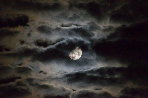 Moon, Clouds, Night, Sky, Dark
