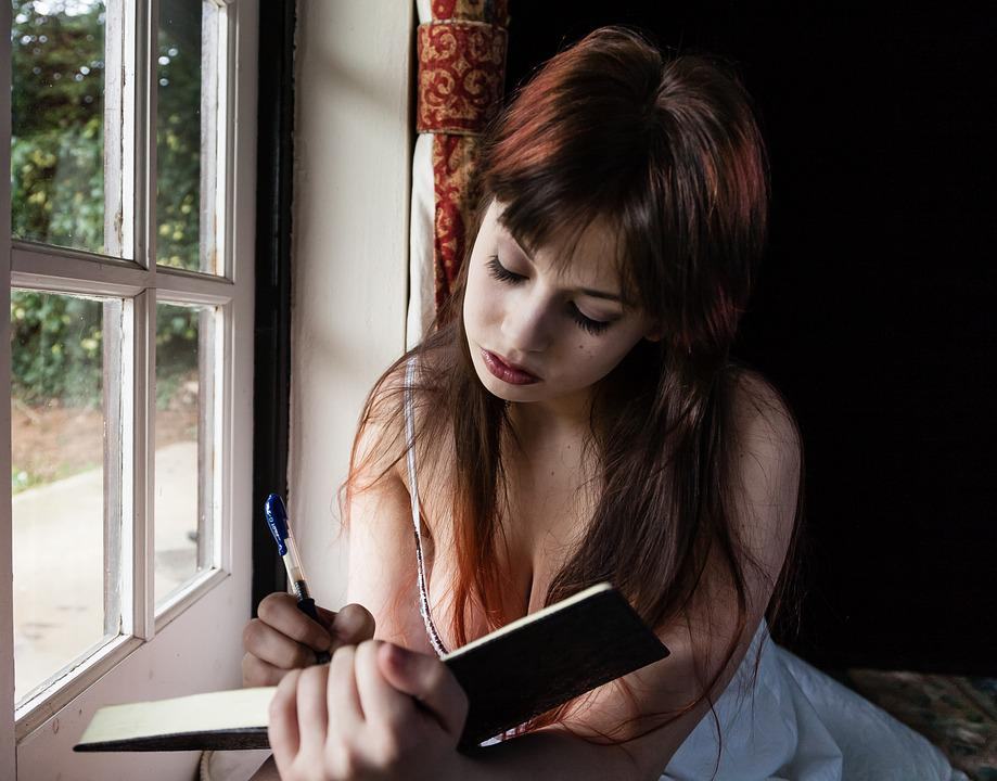Sad Woman, Writing, Diary, Female, Sitting, Caucasian