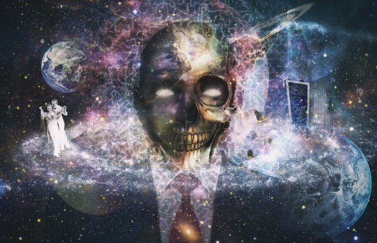 Abstract, Skull, Planet, Cosmos, Door