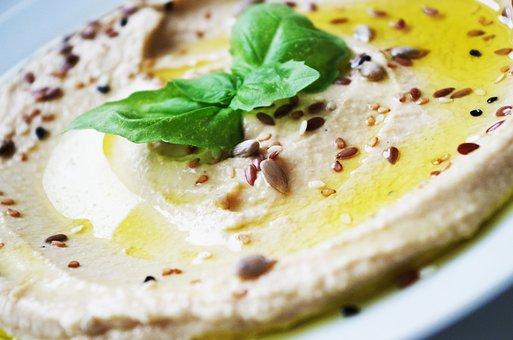 Hummus, Chickpeas, Paste, Basil, Foliage
