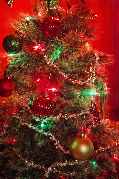 christmas tree red green lights xmas decoration - Red Christmas Tree Lights