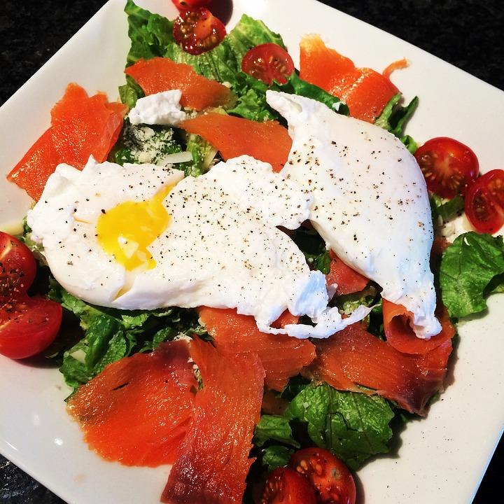 Breakfast, Healthy, Smoked Salmon, Salad, Egg