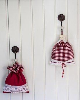 Deco, Decoration, White, Red, Fabric